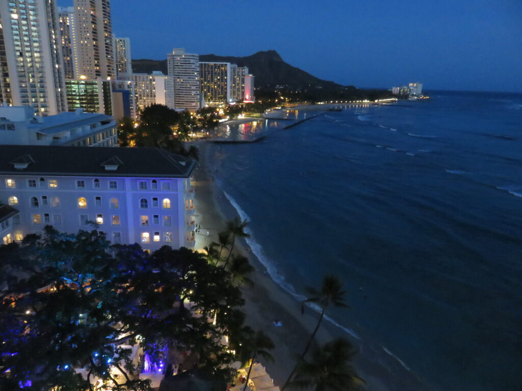 Scenery from Moana Surfrider A Westin Resort and Spa at night.